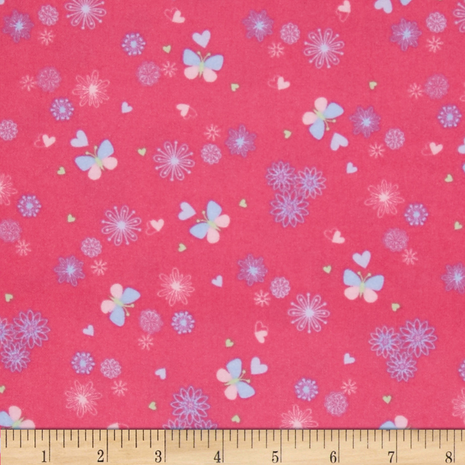 OOO Baby Flannel Tossed Butterflies Pink Fabric