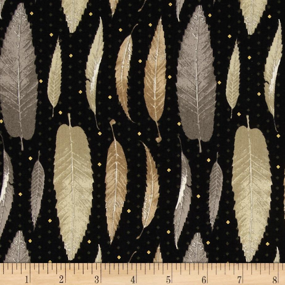 Fairmount Park Feathers Metallic Black