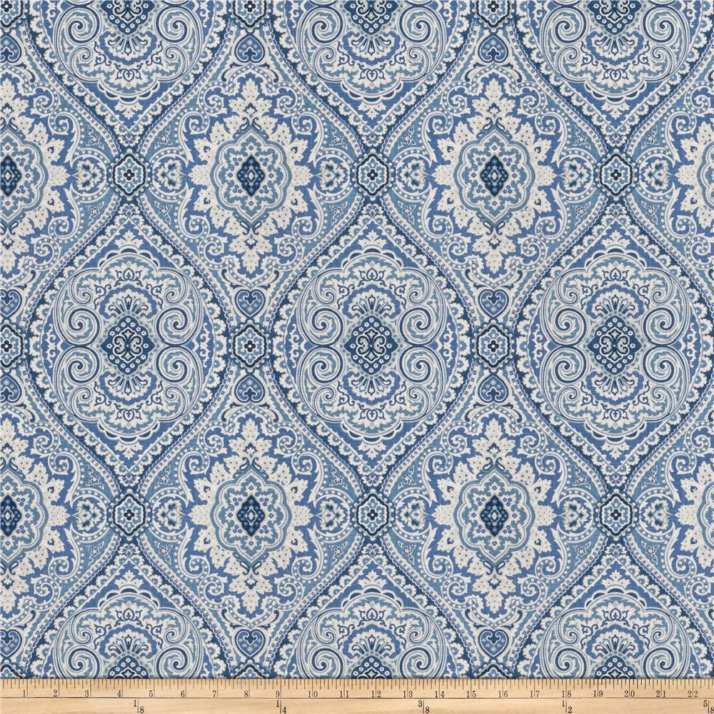 Fabricut Pocket Medallion Slub Ocean Blue