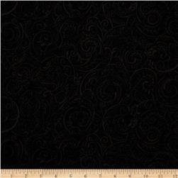 "Charleston 108"" Wide Quilt Backing Swirly Vine Black"