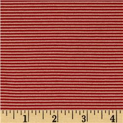 Stretch Jersey Knit Mini Stripes Red & Tan