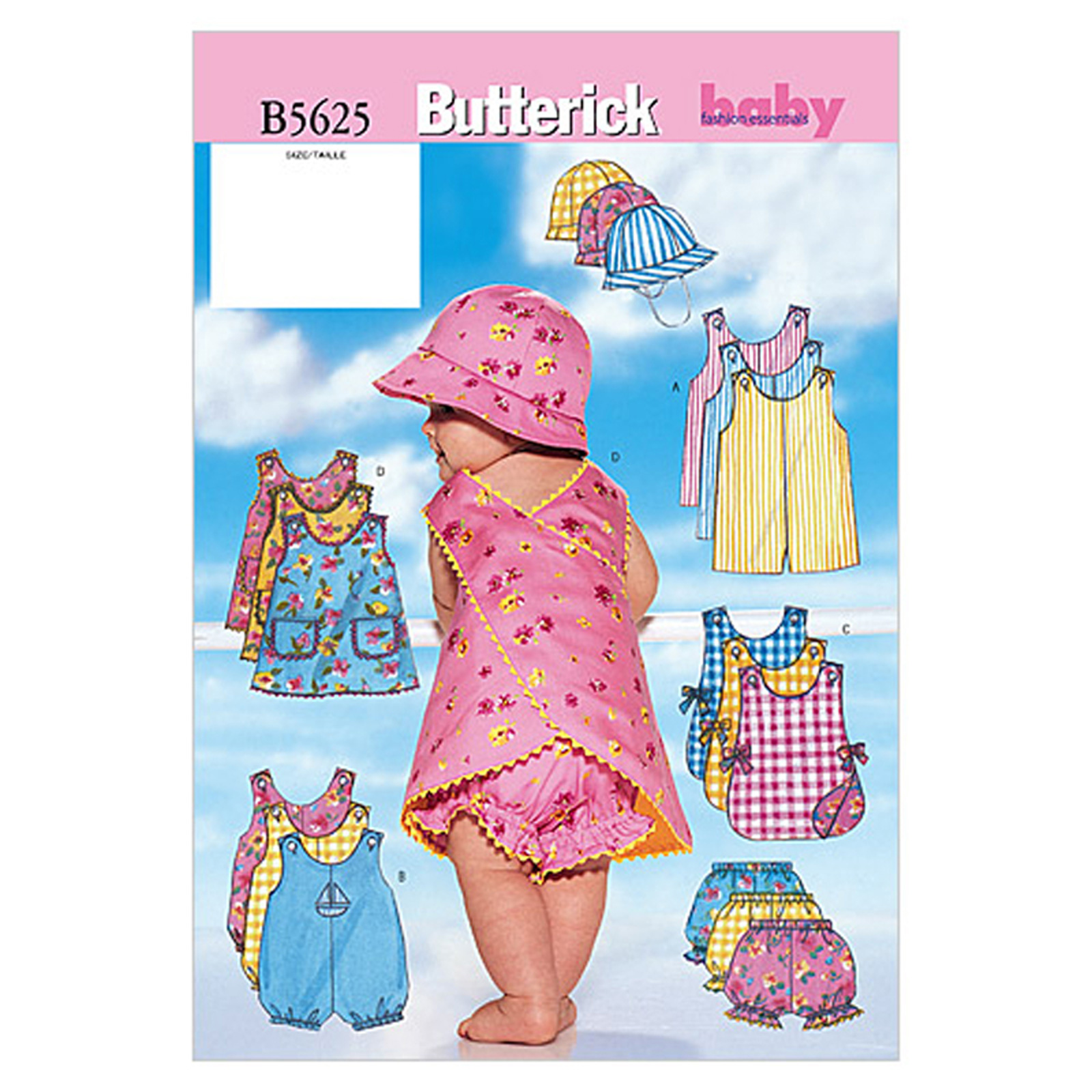 Butterick Infants' Romper Jumper Panties and Hat Pattern B5625 Size LRG