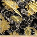 Silky Single Knit Paisley Yellow/Black
