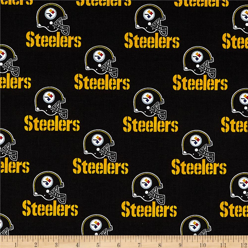 NFL Cotton Broadcloth Pittsburgh Steelers Black Fabric By The Yard