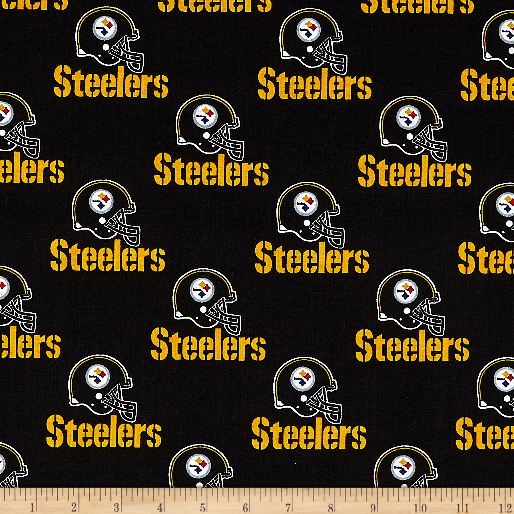 NFL Cotton Broadcloth Pittsburgh Steelers Black Fabric