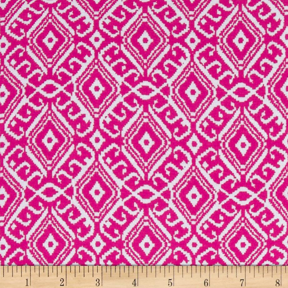 Stretch Cotton Jersey Knit Dehli Hot Pink/White