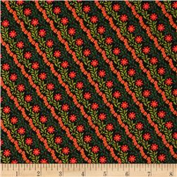 Flowers on Diagonal Black/Red/Green Fabric