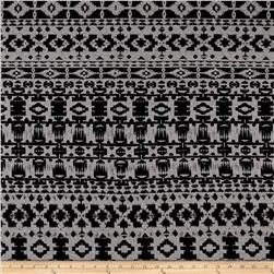 Telio Dakota Stretch Rayon Jersey Knit Aztec Print Black/Grey