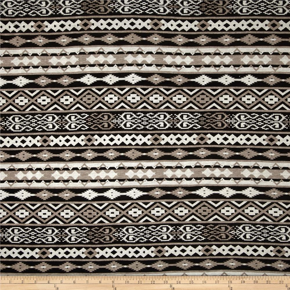Rayon Jersey Knit Aztec Stripes Black/Tan/Beige