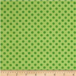 Flannel Polka Dots Green Fabric