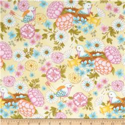Peaceful Pastimes Large Floral w/ Bird Cream
