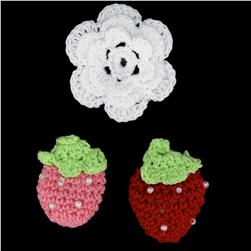 Riley Blake Sew Together Crochet Flower & Strawberries 3 pk