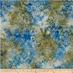 Moda Woodland Summer Batiks Symmetry Denim