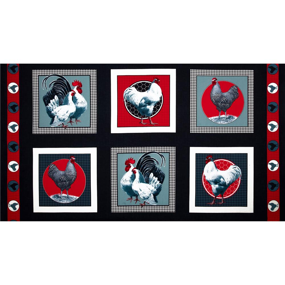 Rooster Royale Panel Rooster Blocks Black