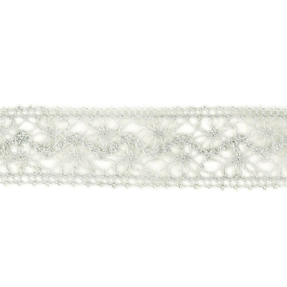 1 1/2'' Crochet Lace Ribbon Grey