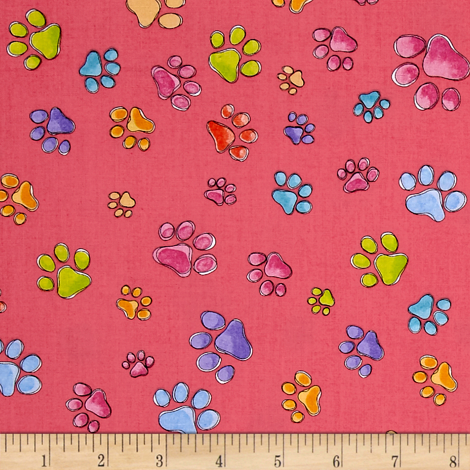 Loralie Designs Dog Gone Pawful Paws Pink Fabric by E. E. Schenck in USA