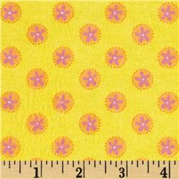 Pink Paisley Flannel Tossed Flowers Yellow