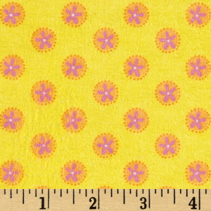 Pink Paisley Flannel Tossed Flowers Yellow Fabric