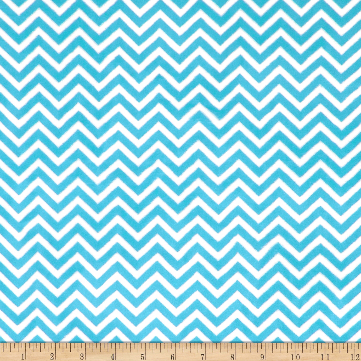 Minky Cuddle Mini Chevron Turquoise/Snow Fabric