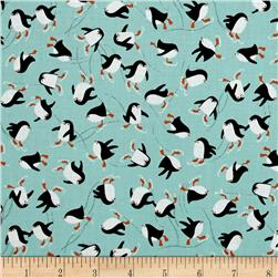 Novelty Christmas Penguins Teal