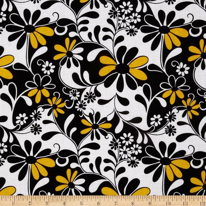 Crazy Daisy Flowers Black/Yellow