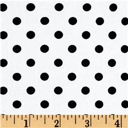 Cotton Stretch Poplin Polka Dots Ivory/Black