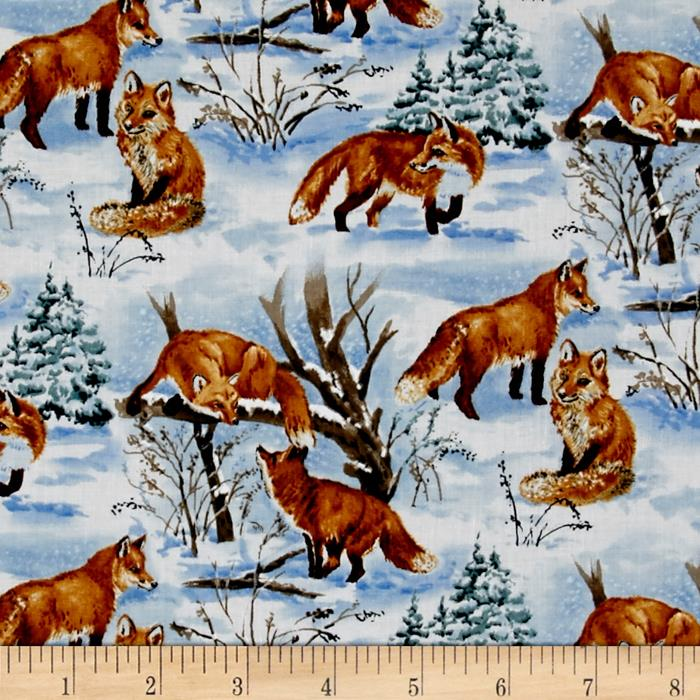 Snowscapes Foxes Light Blue