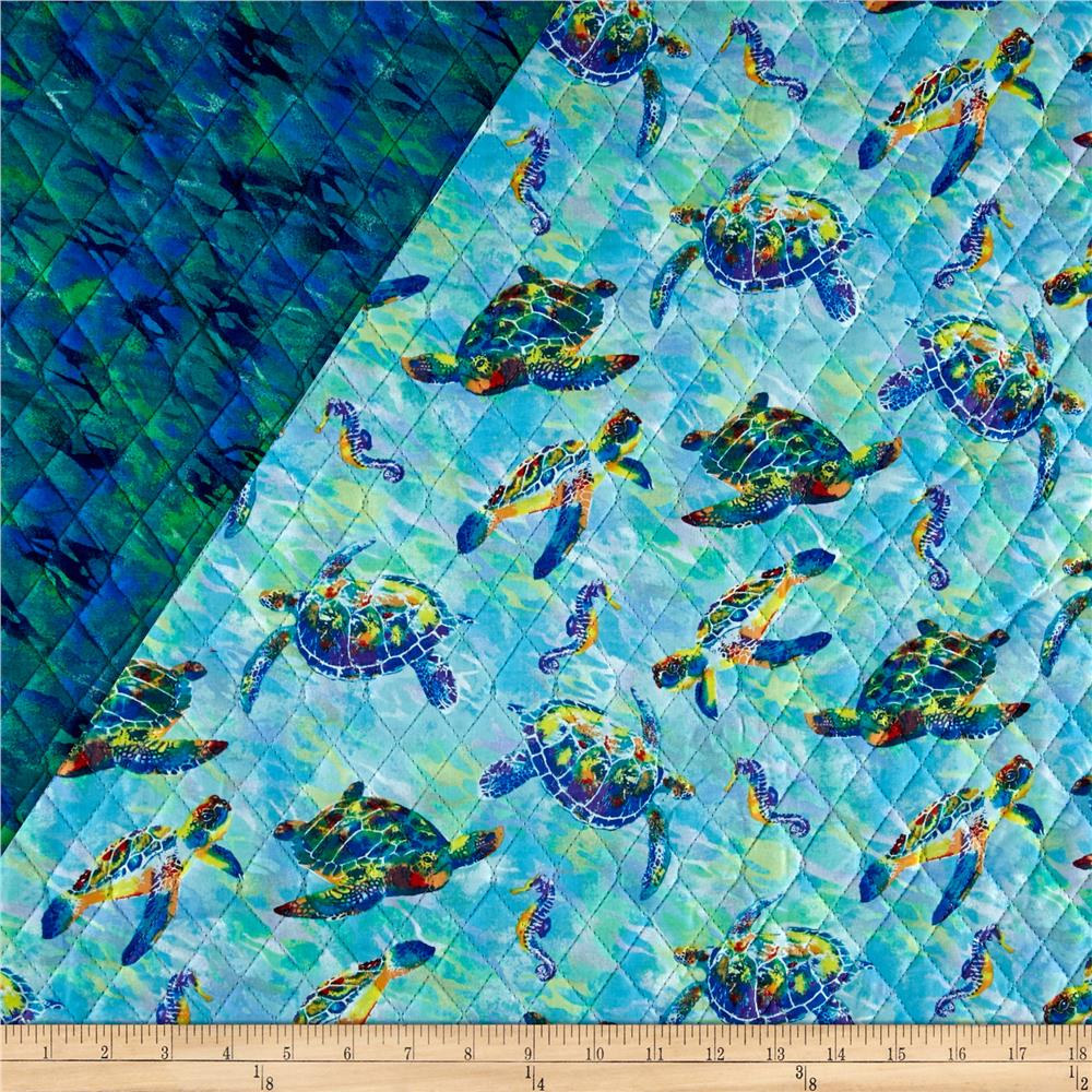 Calypso Sea Turtles Double Sided Quilted Turquoise
