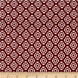 Jersey Knit Aztec Diamond Print Burgundy White