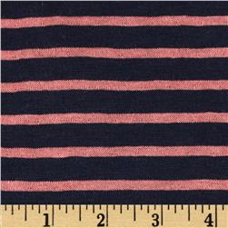 Designer Yarn Dyed Stripe Double Pique Jersey Knit Navy/Coral