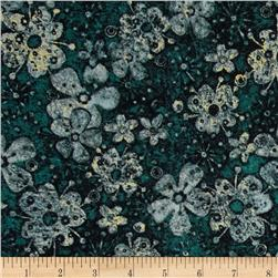 Tuscan Breeze Metallic Flowers Teal