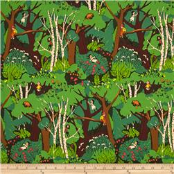 Heather Ross Tiger Lily Climbing Trees Green