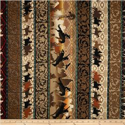 Kanvas Wild Wild West Sunset Rider Brown Fabric