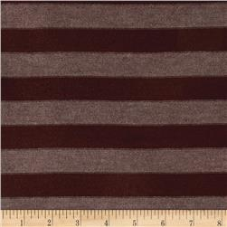 Lightweight Sweater Knit Medium Chocolate Stripes on Brown