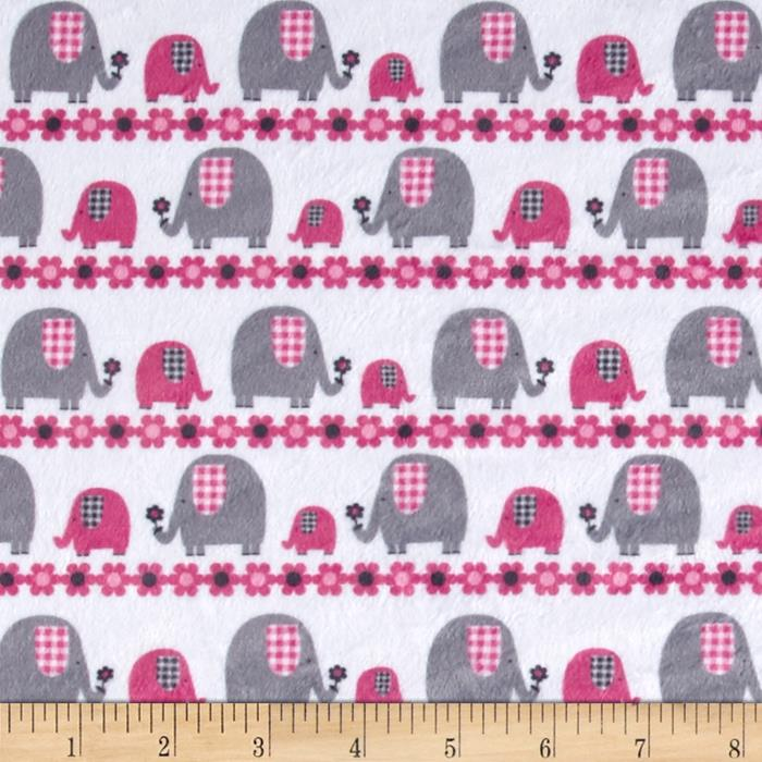 Minky Marching Elephants Fuchsia