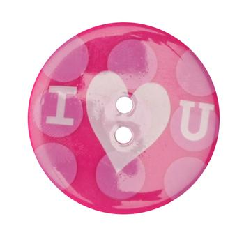 Novelty Button 1-3/8'' I (HEART) You Pink