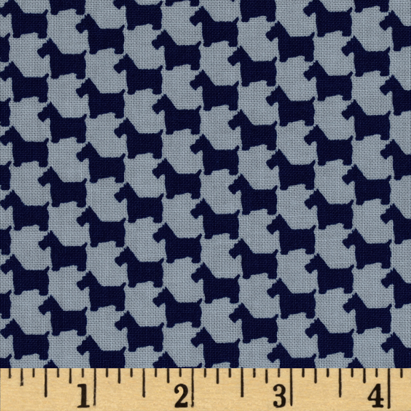 Michael Miller Scottie Houndstooth Nite Fabric