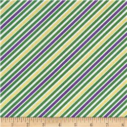 Robert Kaufman Remix Metallic Diagonal Stripe Mardi Gras
