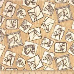 Band of Horses Horse Squares Natural Fabric