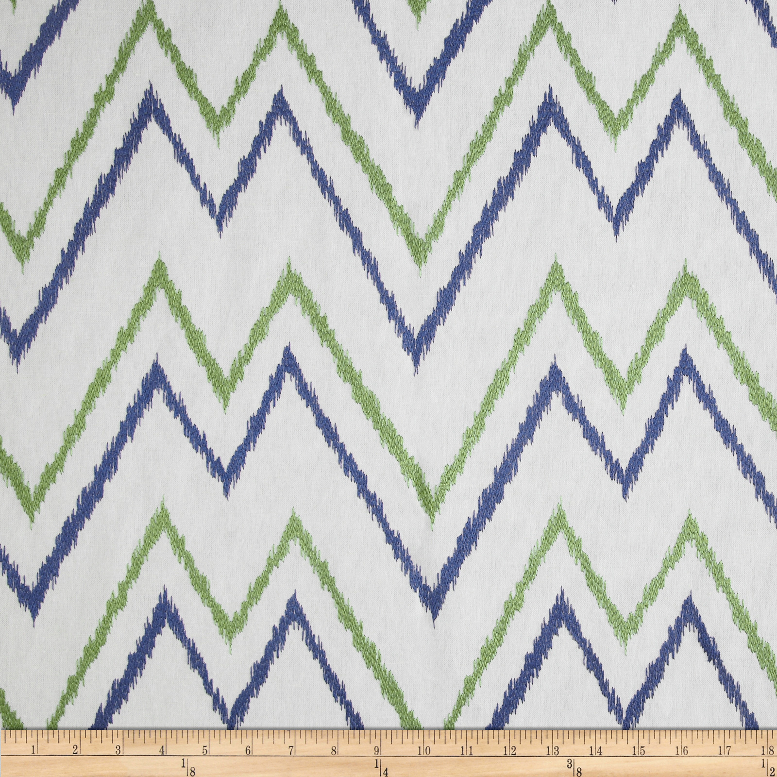 Duralee Home Embroidered Levi Chevron Blue/Green Fabric