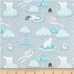 Lewis & Irene Northern Lights Metallic Polar Bears & Seals Turquoise