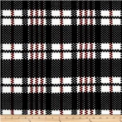 Plaid Double Knit Bullet Knit Print Black/Ivory/Garnet