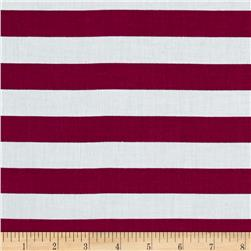 Stripe Cotton Voile Magenta/White