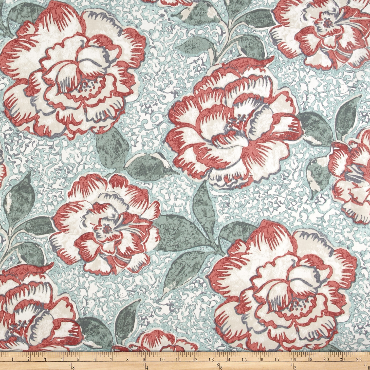 Image of Robert Allen @ Home Peony Bowl Coral Fabric