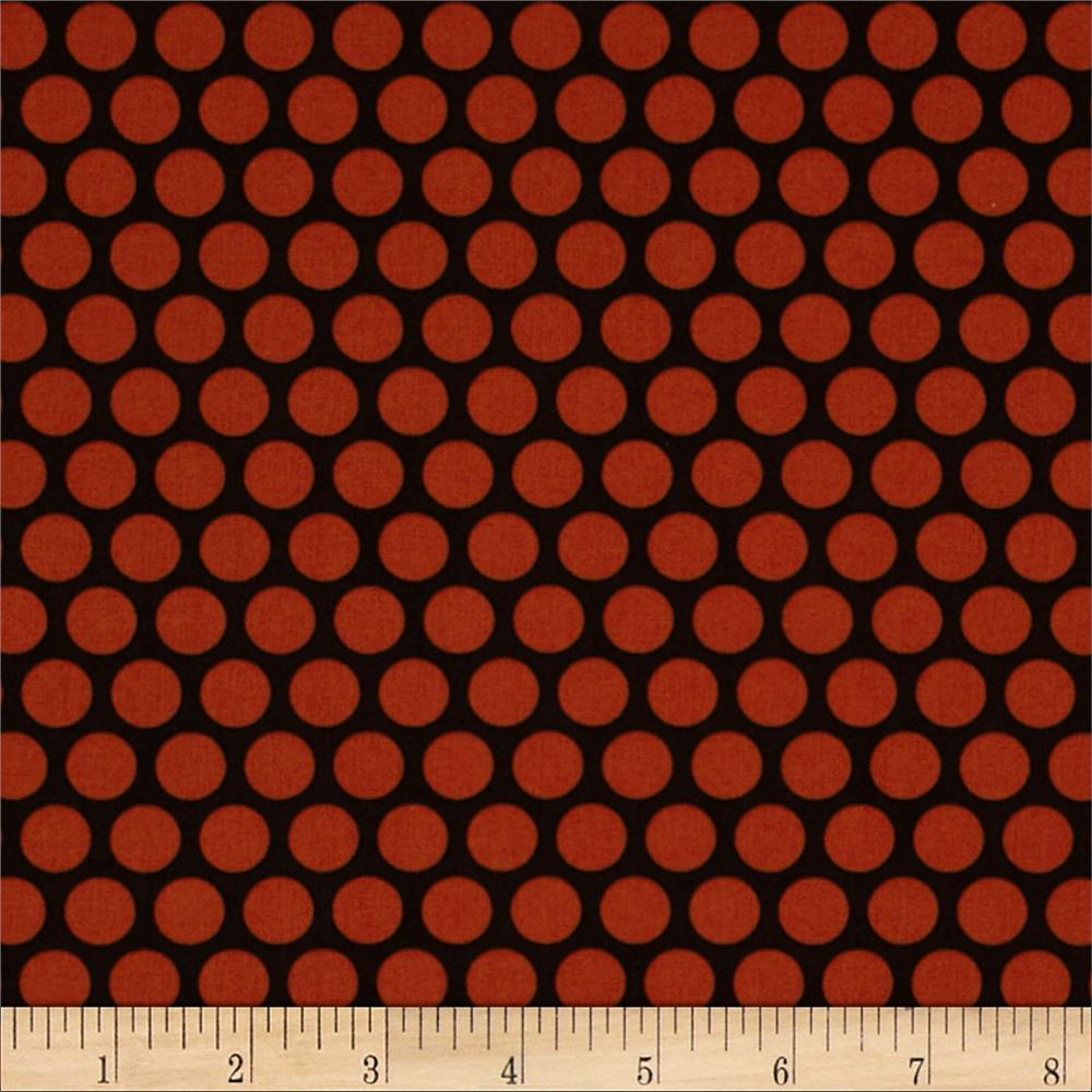 Retro Geo Polka Dot Black/Orange
