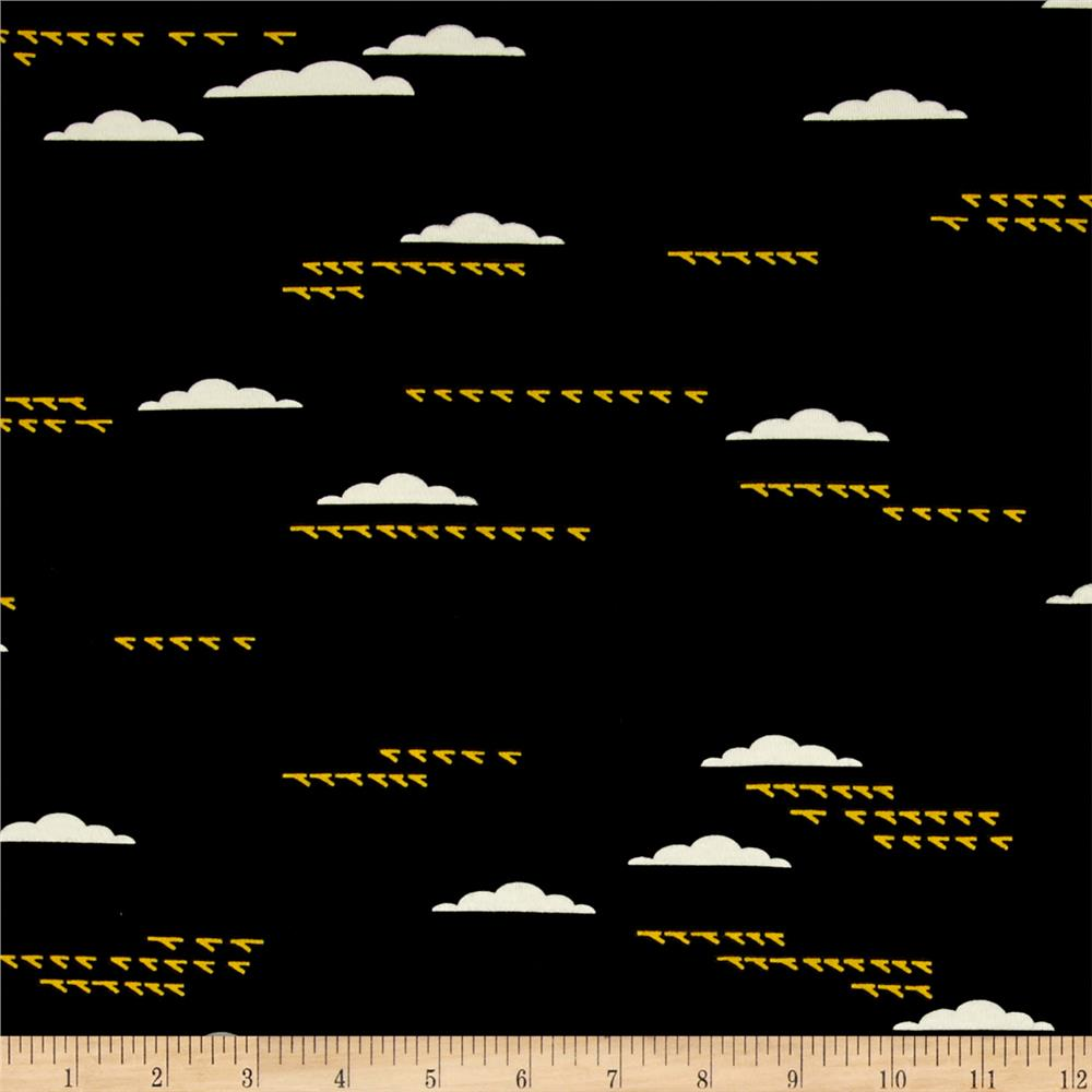 Birch Organic Maritime Interlock Knit Birds And Clouds