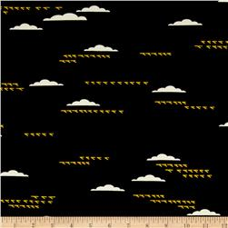Birch Organic Maritime Interlock Knit Birds And Clouds Black