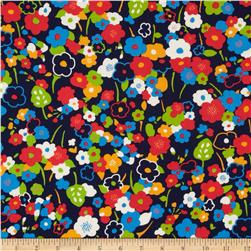 Kaufman London Calling Lawn Flower Stem Navy