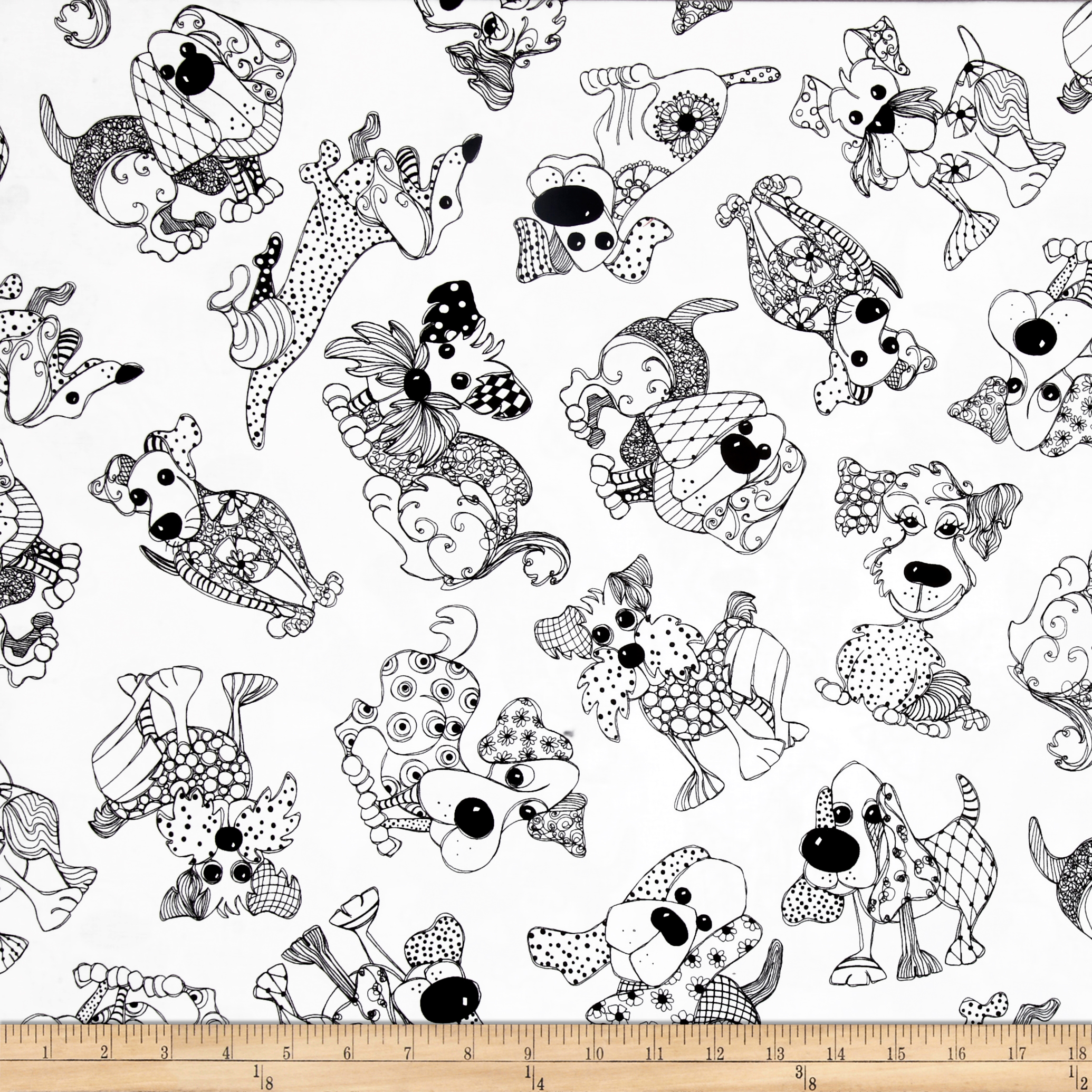 Loralie Designs Dog Happy! Doodle Dogs White Fabric