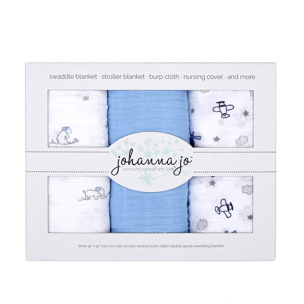 Shannon Embrace Double Gauze Swaddle 3 Pack Puppy
